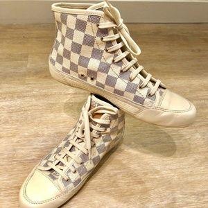 Louis Vuitton*High Top Sneakers*Damier Azur*Check